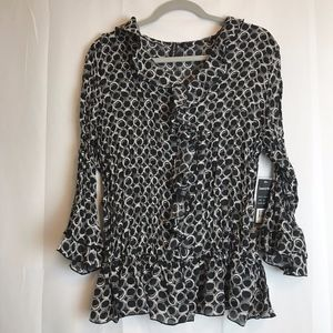 ESSENTIALS by MILANO XL NWT Black & Gray Top